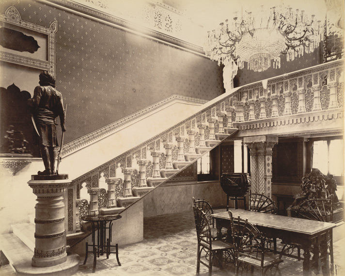 marble-staircase-engraved-by-felici-laxmi-vilas-palace-clicked-in-1890s