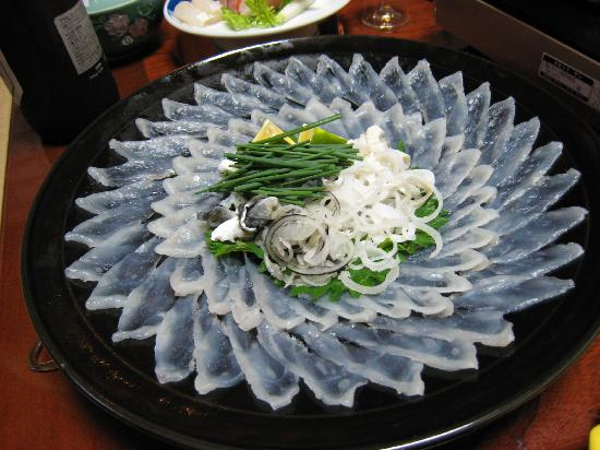 Fugu-sashi  Thinly sliced raw fugu