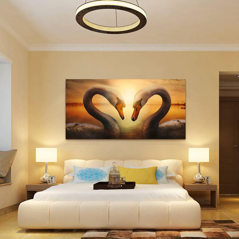 Wall-Canvas-font-b-Art-b-font-font-b-Swan-b-font-Painting-Modern-Office-Wall